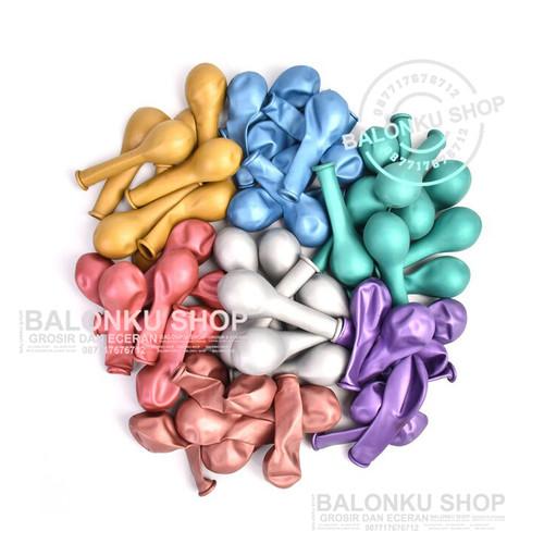 Foto Produk Balon isi 50 Pcs Chrome 5 Inch / Balon Warna Warni / Balon Chrome - Mix Warna dari Balonku Shop