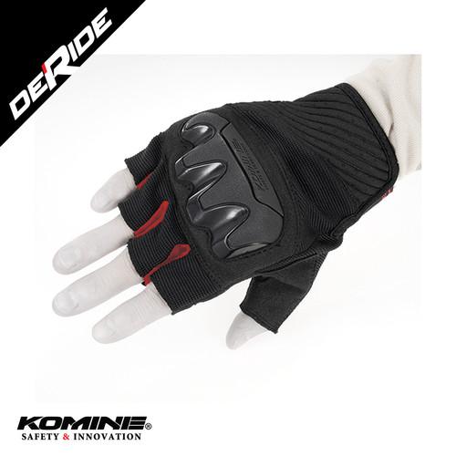 Foto Produk Sarung Tangan Komine GK-242 PROTECT MESH FINGERLESS GLOVES HALF - BLACK RED dari DeRide Official Store