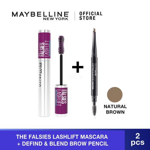 Foto Produk Maybelline The Falsies Lash Lift Very Black Mascara + Eyebrow Pencil - Natural Brown dari Maybelline Official Shop
