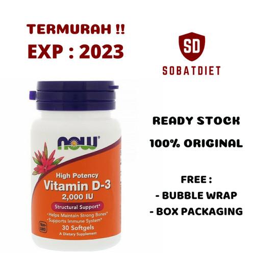 Foto Produk Now Foods, Vitamin D-3, High Potency, 1,000 - 10,000 IU - 2000 IU (30Sg) dari Sobat Diet