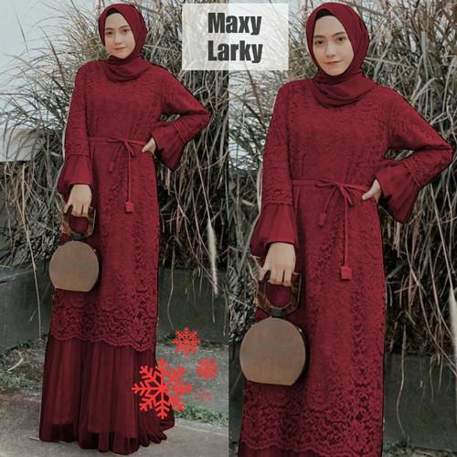 Foto Produk Gamis Wanita Brokat Maxi Dress Baju Muslim Modern Brukat Furing Pesta - Maroon, L dari Victoria Grosir