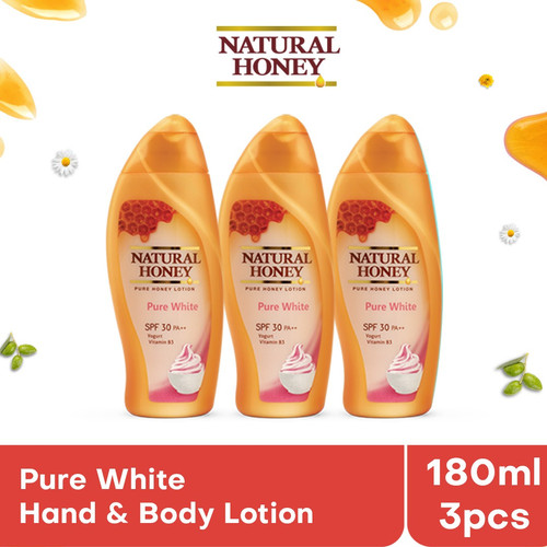 Foto Produk Natural Honey Pure White Hand and Body Lotion [180 mL/ 3 pcs] dari Tempo Store Official