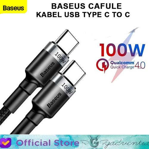 Foto Produk BASEUS CAFULE PD 2.0 KABEL USB TYPE C TO C CABLE FAST CHARGING 100W 2M - Hitam dari GADVENTIA Official Store