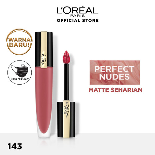 Foto Produk L'Oreal Paris Lip Make Up Liquid Lipstick Rouge Signature Wild Nudes - 143 I Liberate dari L'oreal Paris