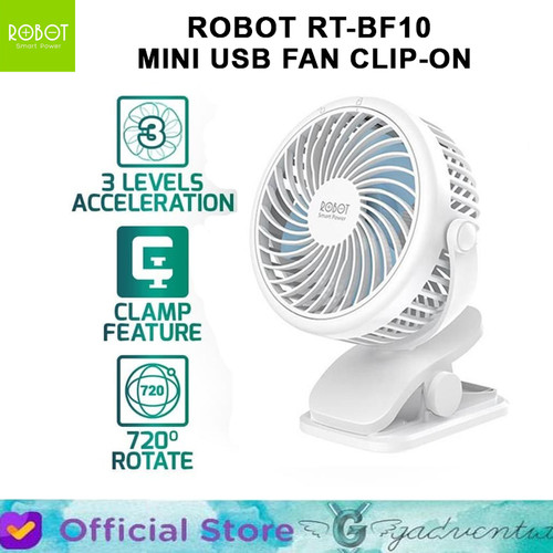 Foto Produk Kipas Angin Mini ROBOT RT BF10 Portable USB FAN Model Clip 2000mAh dari GADVENTIA Official Store