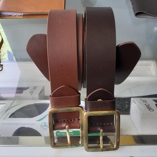 Foto Produk Ikat pinggang Kulit Asli - Gesper kulit Tan - Coklat Tua dari Fruna Phonsel