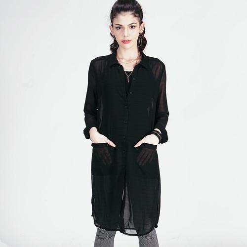 Foto Produk LOGO JEANS - KEMEJA PANJANG ALYX BLACK SHIRT ( 24520L8BQ ) - Hitam, S dari Logo Jeans