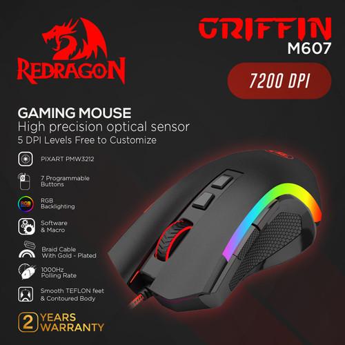 Foto Produk Redragon Gaming Mouse RGB GRIFFIN - M607 dari REDRAGON INDONESIA