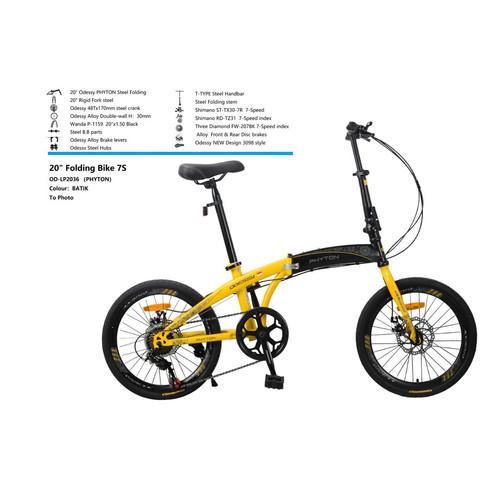 Foto Produk Sepeda Lipat Odessy Phyton Batik Edition 20 inch Shimano COD kredit SN - Black yellow, 16 dari GUDANG SEPEDA OFFICIAL