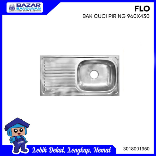 Foto Produk SINK / BAK CUCI PIRING FLO 960 X 430 STAINLESS STEEL ANTI KARAT dari Bazar Bangunan