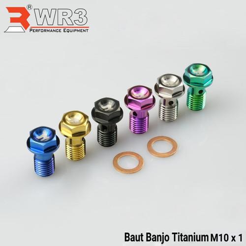 Foto Produk Baut Single drat Halus WR3 Bahan Pure Titanium ya - Biru dari Xtreme Motor Sport