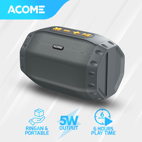 Foto Produk ACOME Speaker Bluetooth 5.0 Hi-Fi Sound TWS 5W Portable A2 - Grey dari Acome Indonesia