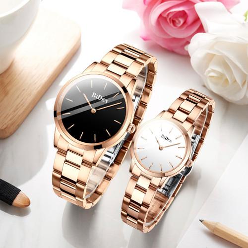 Foto Produk jam tangan BIDEN pria wanita Mode Tahan Air Kuarsa jam tangan couple - Hitam dari BIDEN Official Store