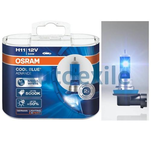 Foto Produk Osram Cool Blue Advance H11 55W 5000K Mega White CBA Lampu Mobil Putih dari Autoexile