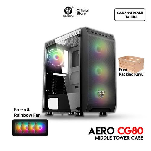 Foto Produk Fantech AERO CG80 Tempered Glass Casing Komputer PC Gaming Case Temper - Hitam dari Fantech Official Store