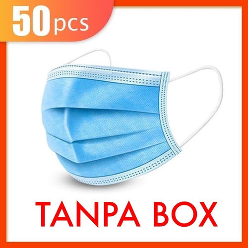 Foto Produk Masker 3 Ply 3Ply isi 50 pcs disposable Facemask mask Masker Earloop - Tanpa Box dari lbagstore