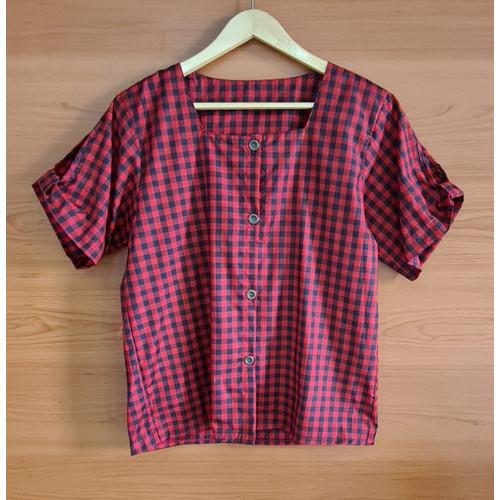 Foto Produk BinxFashion Blouse Jumbo / Atasan Wanita Jumbo / Atasan Wanita Code 43 - KotakHitamMarun, XL dari Binxfashion