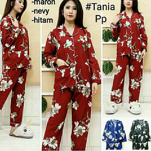 Foto Produk piyama wanita dewasa motif bunga pajamas setelan baju tidur katun - bunga maroon dari DEED Store