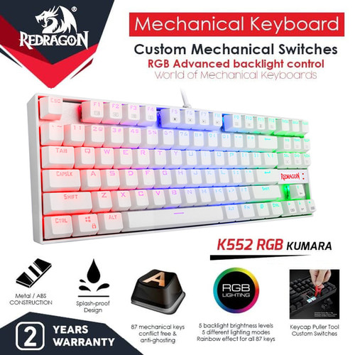 Foto Produk Redragon K552RGB-1 Gaming Keyboard Mechanical RGB KUMARA - Putih dari manekistore