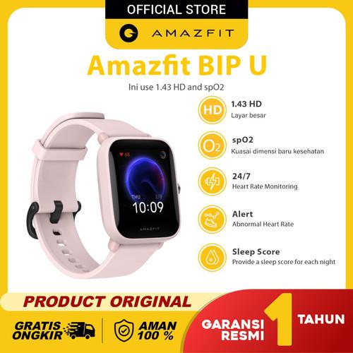 Foto Produk Amazfit Official Bip U Smartwatch Sport Jam Tangan Digital Smart Watch - Merah Muda dari Amazfit Official