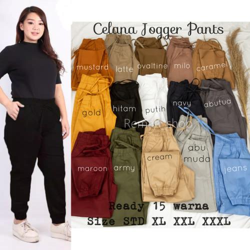 Foto Produk Celana Joger Wanita 3R MURAH Size ML XL XXL XXXL Jogger Pants katun - 96cm, STD dari Remah Shop