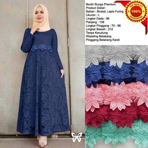 Foto Produk Baju gamis brukat cewek remaja muslim terbaru long dress lapis furing - Blue Navy, L dari taribastore