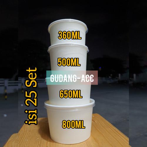 Foto Produk PAPER BOWL 360ml 500ml 650ml 800ml + TUTUP Putih / Mangkok Kertas 25st - 12oz 360ml, 25set tutup dari ACC DEPOK