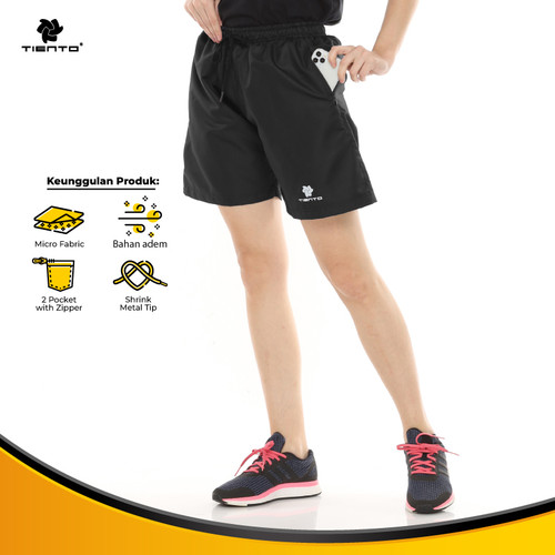 Foto Produk Tiento Running Pants with Zipper Black Celana Pendek Lari Risleting - S dari TIENTO