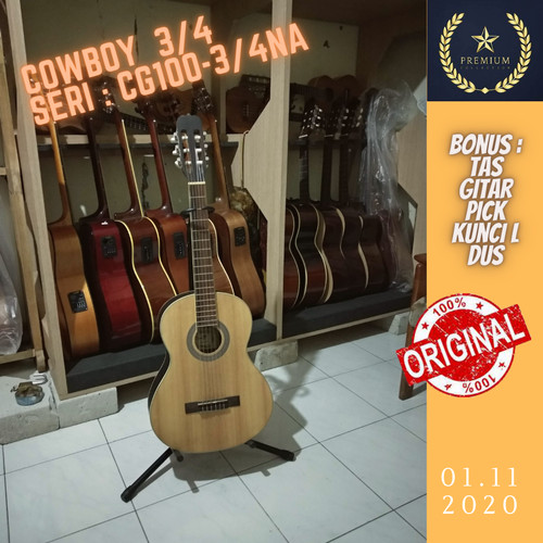 Foto Produk Gitar akustik 3/4 Cowboy classic nylon original Import dari Travertine music