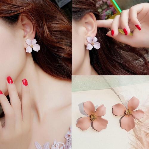 Foto Produk Anting Anting Bunga Model Tusuk Perhiasan Wanita - Merah Muda dari Kendrick MY