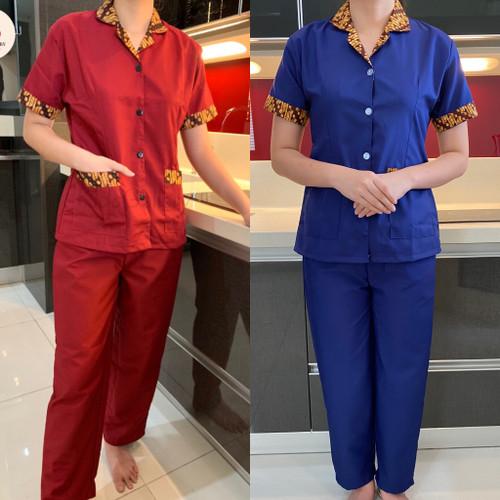 Foto Produk Baju seragam suster (cln pnjng)/ baju baby sitter/ baju nanny (batik) - S, Navy dari KidsGallery