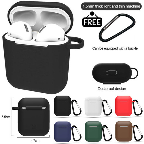 Foto Produk Silicone Case Cover for Airpods with Keychain - 1 1st 2 2nd Gen Soft - Hitam dari Logay Accessories