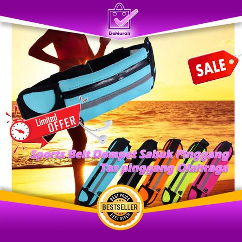Foto Produk 0227 Sports Belt Dompet Sabuk Pinggang - Tas pinggang Olahraga - Biru Muda dari Demurah Dot Com
