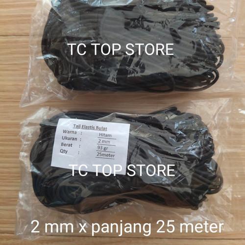 Foto Produk Tali Elastis Bulat 2mm / Tali String / tali karet (panjang 25 meter) - Hitam dari TC Top store