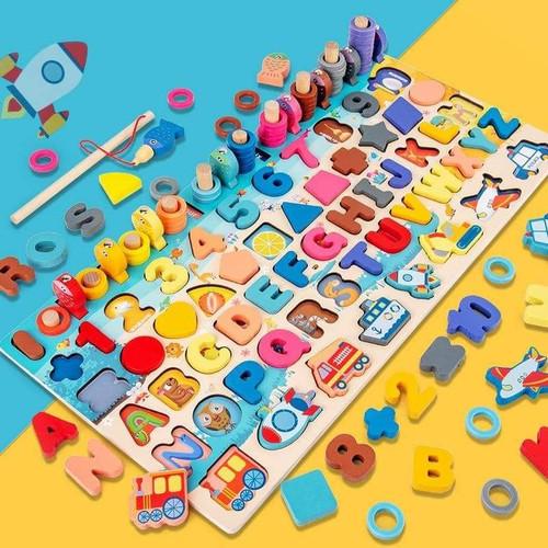 Foto Produk CM-K46 Mainan Edukasi 7in1 Puzzle Kayu Anak Huruf Angka Pancing Ikan dari Mmtoys Indonesia