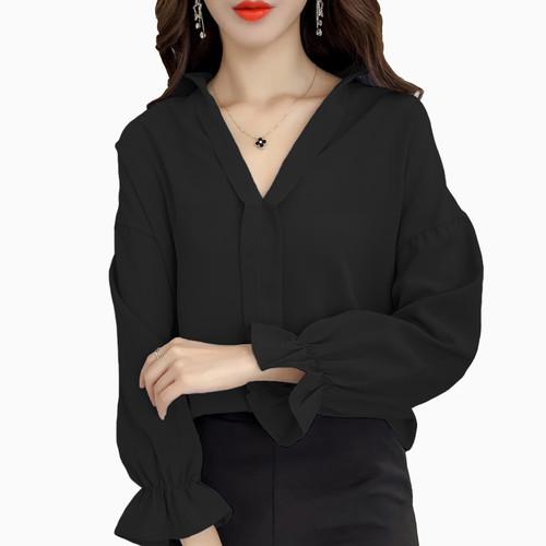 Foto Produk Blus lengan panjang gaya Korea BIG SIZE fit 3L - Jfashion Ningrum - Hitam, M dari j--fashion