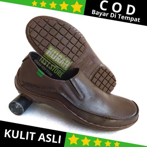 Foto Produk Sepatu Formal Pria Kulit Asli Slip On Lofer Sepatu Kerja Pria Pantofel - Hitam, 39 dari Hijrah Fest Store