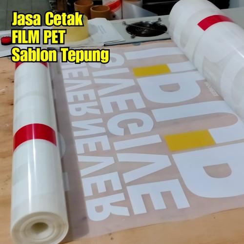 Foto Produk Jasa Cetak Sticker FILM PET Sablon Digital Meteran-Tinggal Press Saja - 56x1000cm dari RONIta Digital Printing