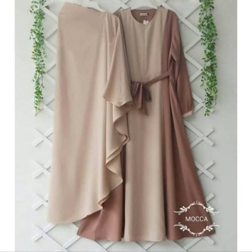 Foto Produk Baju Gamis Syari Set Khimar Hijab Dewasa kekinian Murah Terbaru - moca dari damris shop