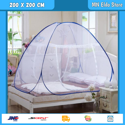 Foto Produk Kelambu Lipat 200 x 200 Kelambu Nyamuk Lipat Kelambu Tenda Lipat KL200 - Biru dari MN Eldo Store