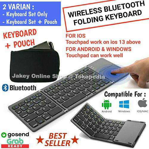 Foto Produk Wireless Bluetooth Foldable Keyboard Touchpad Lipat 3 dari Jakey Online Shop