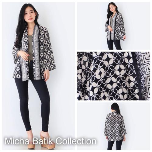 Foto Produk Outer batik paris: Cardigan Kawung hitam dari Micha Batik Collection