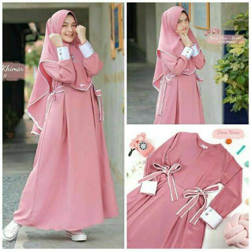 Foto Produk Baju Gamis Set Khimar Hijab Syari remaja Dewasa kekinian Murah Terbaru - pink dari damris shop