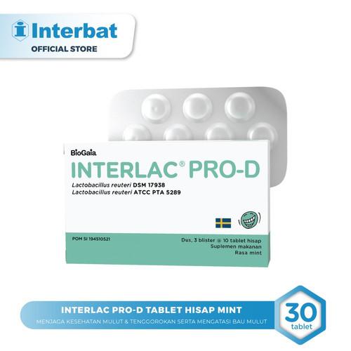 Foto Produk Interlac Pro D Lozenges Tablet Hisap Mint - 3 blister @10 tablet dari Interbat Consumer Health