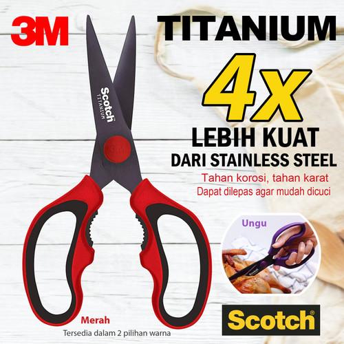 Foto Produk Scotch 3M Gunting Dapur Titanium Detachable, bisa dilepas - Merah dari Cutteristic