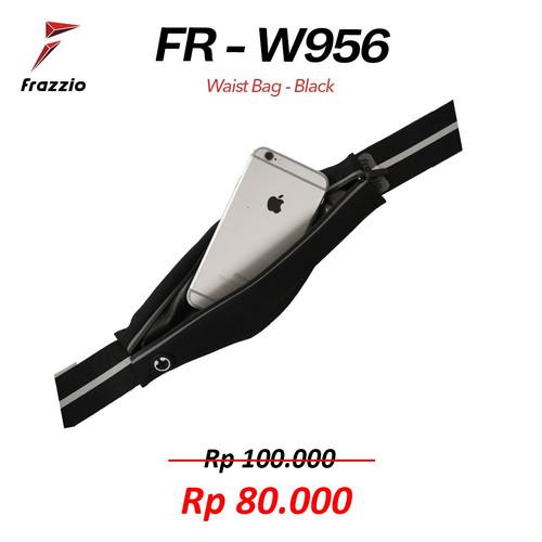 Foto Produk FRAZZIO Waist Bag FR-W956 - Tas Pinggang lari sepeda gym - BLACK dari PACE AND RACE