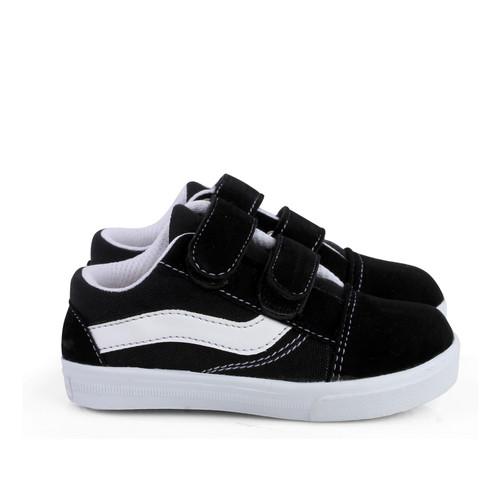 Foto Produk syalu Sepatu Anak unisex sneakers canvas ringan terbaru - HITAM POLOS, 22 dari Syalu Shoes