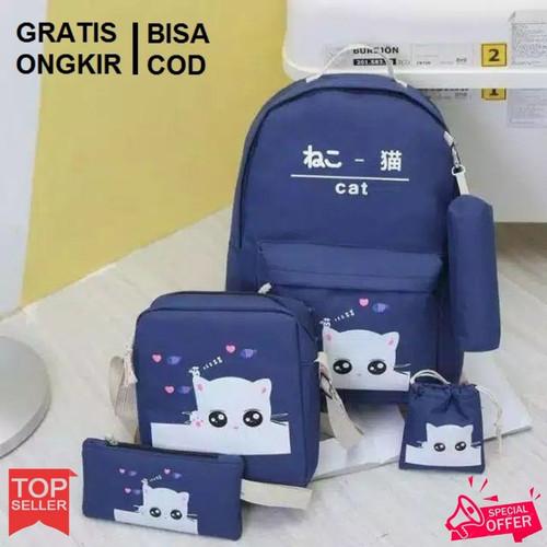 Foto Produk Grosir Tas Ransel Anak Sekolah SD Laki Perempuan 4in1 Cat Murah Pink - Biru dari Gudang Tas Murah Bandung