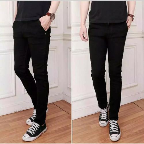 Foto Produk Celana panjang slim fit jeans pria/jeans soft gray hitam skinny - Hitam, 28 dari pwocollection1