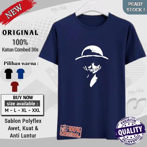Foto Produk kaos t shirt original distro cowok dewasa keren kekinian Luffy Ketawa - Maroon, M dari RasSa Store